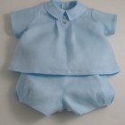 Ice Blue Linen Baby Suit