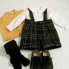 Navy Tartan Shorts Set