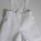 White Linen Flat Front Shorts