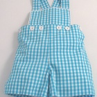 Turquoise Gingham Dungaree Shorts