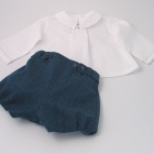 Petrol Blue Wool Tweed Baby Set