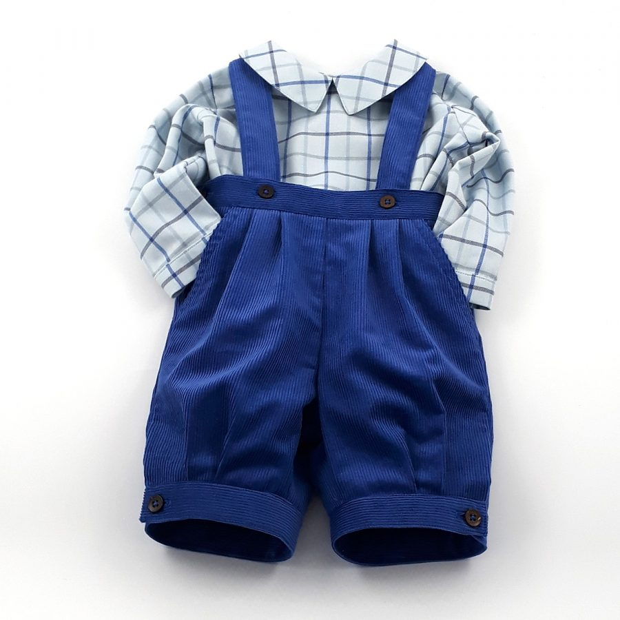 blue cord knickerbockers and checked shirt