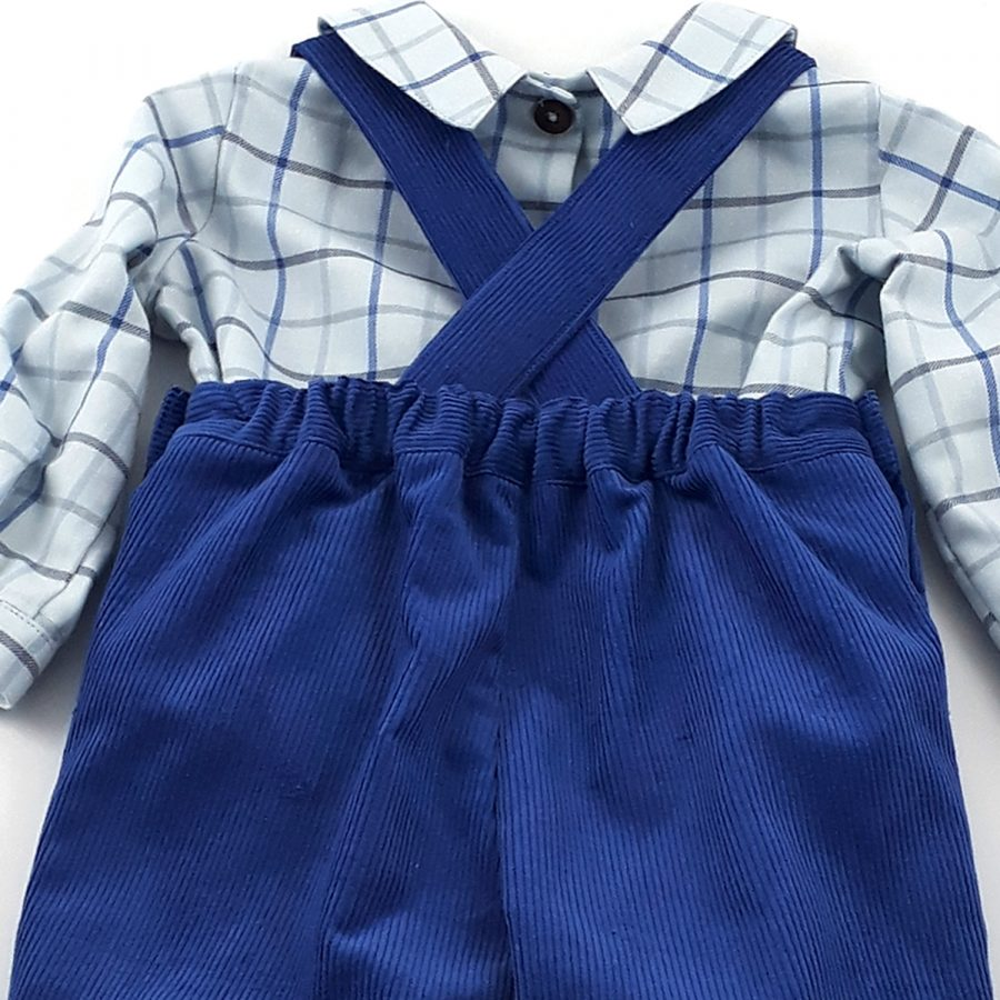 blue cord knickerbockers and check shirt back detail