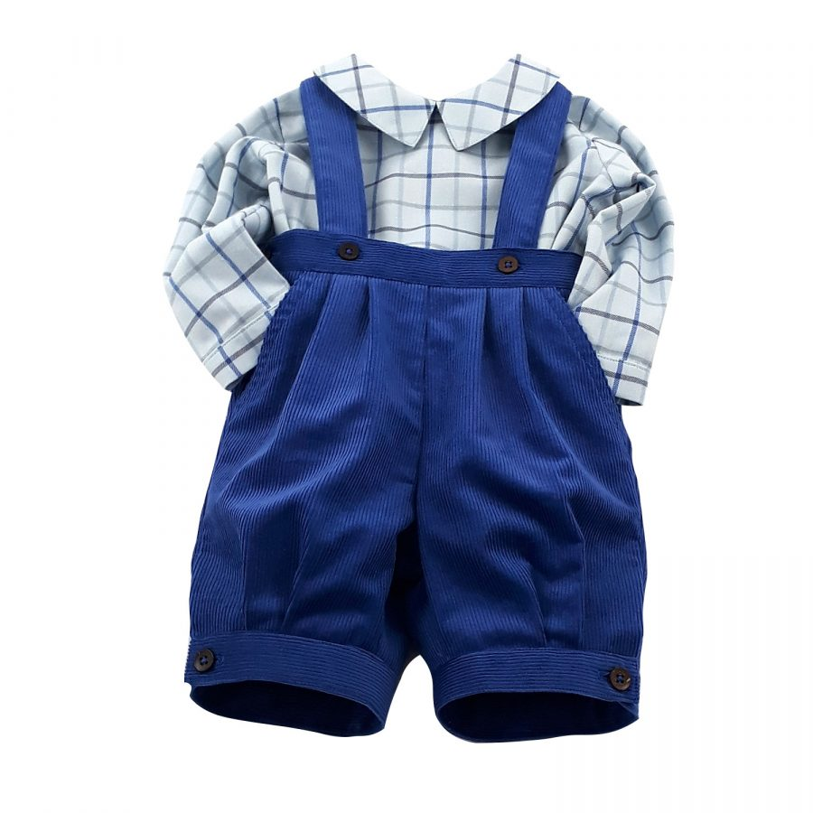 blue cord knickerbockers and checked shirt for little boy