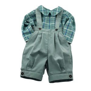 green cord knickerbockers and checked shirt set