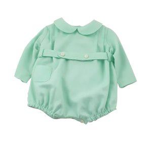 mint wool-cotton baby boy romper