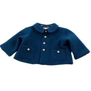petrol blue boiled wool jacket
