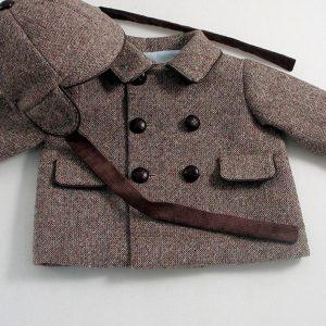 brown Donegal tweed boys jacket and capacket