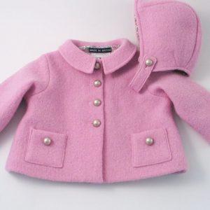 pink baby girl boiled wool jacket